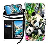 Sunrive Kompatibel mit ZTE Blade A452 Hülle,Magnetisch Schaltfläche Ledertasche Schutzhülle Etui Leder Case Handyhülle Tasche Schalen Lederhülle MEHRWEG(Wasserfall Panda B1)