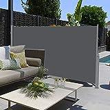 SogesHome Seitenmarkise Markise Einziehbare Seitenmarkise Abnehmbare Seitenmarkise und Windschutz für Terrasse, Balkon, Terrasse (dunkelgrau), 300 x 120 cm, SH-MH038-312G