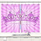 TISAGUER Scheibengardine,Schöne glänzende wahre Prinzessin Krone auf radialem Gutshintergrund,Vorhang Durchstangenzug Gardine Küche Tür Korridor Gardine 55x39in
