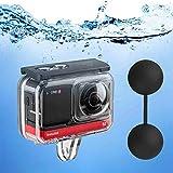 Tauchtasche für Insta360 ONE R 360 Grad Action-Kamera, wasserdichtes Gehäuse, Unterwasser-Tauchergehäuse, 45 m, mit Rändelschraube, Zubehör, 12 Stück Anti-Beschlag-Einsätze