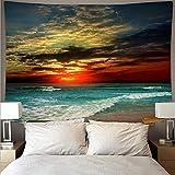 Schöne Dämmerung Strand Riesenwelle Landschaft Wandteppich Wandtuch Kunst Tapisserie Hippie Wandbehang Hintergrund Stoff A1 150x200cm