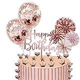 Xinmeng Rose Gold Tortendeko Cake Topper Konfetti Ballon Geburtstag Kuchen Topper Kuchendekoration Geburtstag Torte Topper Kuchen Deko für Mädchen Geburtstag mit Sternen und Pap
