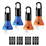 Lepro Campinglampe, Tragbare Zeltlampe, LED Camping Laterne, Camping Licht, Glühbirne Set-Notlicht 4 Stück für Camping Abenteuer Angeln Garage Notfall Stromausfall, 12 AAA Batterien enthalten