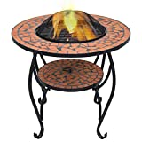 vidaXL Feuerschale Mosaik Feuerstelle Grill Gartenfeuer Feuerkorb Terrassenofen Grillfeuer Garten Terrasse Balkon Terrakotta 68cm Keramik