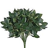 HUAESIN 4pcs 28cm Künstliche Pflanzen Rosenblätter Kunstpflanzen Außenbereich Balkonpflanzen Grün Plastikpflanzen für Balkon Outdoor Garten Büro Innen Topf Zuhause Hochzeit Dekoration