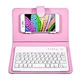 PUSOKEI Universelle kabellose Bluetooth-Tastatur, abnehmbare Magnet-Tastatur mit Klappdeckelabdeckung und Ständer für 4,5- bis 6,8-Zoll-Bluetooth-Handys(Rosa)
