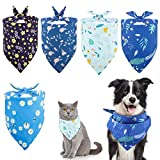 Lewondr Haustiere Kopftuch, 5 Pack Haustiere Bandana Tuch mit Blumendruck Waschbar Weich Atmungsaktiv Dreieckstuch Hundeschal Haustiere Halstuch für Hunde Katzen Welpen - B