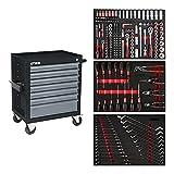STIER Werkstattwagen Black, bestückt 223-teilig, Werkzeuge in Weichschaumeinlage (EVA), Tragkraft 300kg, 7 Schubladen
