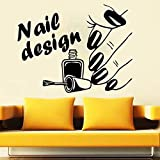 HGFDHG Nail Art Design Wandtattoo Beauty Salon Kunst Nail Salon Maniküre Innendekoration Vinyl Wandaufkleber Fenster Wandbild
