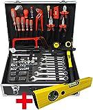 Famex Werkzeuge Stabiler Koffer mit Werkzeug Set | Werkzeugbox | Werkzeugkiste | Werkzeugkasten komplett, 759-63 Alu-Werkzeugkoffer 126-tlg 126-teilig