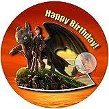 Für die Geburtstags Torte, Zuckerbild mit dem Motiv: Drachenzähmen leicht gemacht, Essbares Foto für Torten, Fondant, Tortenaufleger Ø 20cm, 0211c