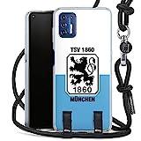 DeinDesign Carry Case kompatibel mit Motorola Moto 9G Plus Hülle mit Kordel aus Stoff Handykette zum Umhängen schwarz TSV 1860 München Offizielles Lizenzprodukt Wapp