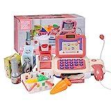 BAQSOO Spielzeugkasse Mit Scanner Für Kinder, Rollkasse Supermarkt Spielzeug 32pcs, Spielzeugkasse Mit Mikrofon, Geld, Kreditkarte, Essen, Rollenspielgeschenke Für Kleinkinder 3+