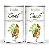 Carob-Pulver Johannisbrot-Baum-Frucht (Bio Rohkost Vegan) Kakao-Ersatz für Trinkschokolade ohne Zucker, Koffein, Fett - Natürliche Süße, Ballaststoffreich, Mineralien - Karob | PureRaw 480g (=2x 240g)