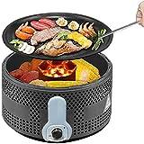 MNSSRN Multifunktionale rauchfreie Doppelschichtgrill-Grill, Holzkohle Runde Barbecue Grillparty/Abendessen Home Desktop Grill, Backyard Camping Grill,Schwarz