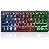Rii Bluetooth Tastatur, Tragbare Laptop Tastatur mit Farbige Hintergrundbeleuchtung für iOS Android and Windows Tablet PC Laptop Notebook MacBook. (QWERTZ Deutsche Layout, schwarz)