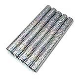 5er Set Klebefolie Hologramm Selbstklebende Glitzer Dekofolie Farbig Bastefolie Glitter Vinyl Aufkleber DIY 100cm x 33cm (Dots)
