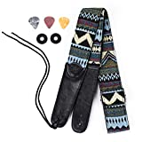 Vintage Guitar Strap Braided Adjustable Bracelet with Leather End for Acoustic and Electric Guitar & Bass (Three Patterns Included)