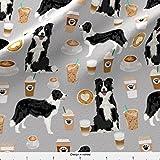 Spoonflower Stoff – Border Collies Kaffee-Drucke süße Hunde beste Hunde Herding Collie Rasse gedruckt auf leichtem Baumwoll-Twill Stoff Meterware Nähen Bottomweight Mode Bekleidung