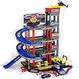 Parkgarage Spielzeug Kinder Autogarage Parkhaus Garage incl. 4 Spielzeugautos und Hubschrauber Spiel-SET mit Tankstelle, Fahrstuhl, Waschstraße und Werkstatt
