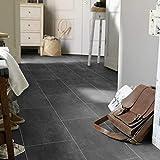 PVC Bodenbelag Fliese Schwarz Melbourne Noir (Breite: 200 cm x Länge: 250 cm)