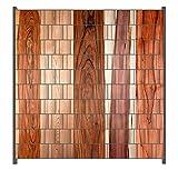 Wallario Zaun Sichtschutz Windschutz für Doppelstabmattenzäune in der Größe Breite 2,00m x Höhe 2,00m, Motiv: Holzmuster - Oberfläche mit Holzmaserung VIII
