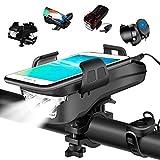 HJHY 4 in 1 Fahrradlicht, USB Wiederaufladbar LED Fahrradbeleuchtung Set, IP65 Wasserdicht Haben DREI Beleuchtungsmodi Können als Fahradlicht, Handyhalterung, Lautsprecher, Mobilstrom (4000 mAh)