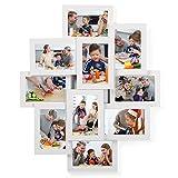 SONGMICS Bilderrahmen-Collage, für 10 Fotos je 10 x 15 cm (4 x 6 Zoll), aus MDF-Platten, Montage erforderlich, weiß RPF20WT