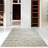 Hand-Web-Teppich | Reine Schur-Wolle im Skandinavischen Design | Wohnzimmer Esszimmer Schlafzimmer Flur Läufer | Grau Beige (Kiesel - 60 x 110 cm)