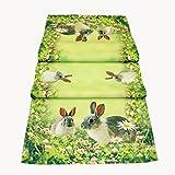 Tischläufer 40 x 90 cm Tischdecke Mitteldecke Ostern Tischdeko Frühling grün bunt Osterhasen Osterdekoration
