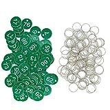 Kunststoff-ID-Nummernschilder, Schlüsselanhänger, gravierte Zahl mit Schlüsselringen (grün, 1-50)