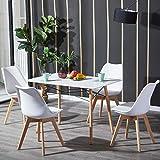 H.J WeDoo Esszimmertisch mit Stühlen, Essgruppe Weiß Tisch mit 4 Weiß Stühlen für Esszimmer, Küche & Wohnzimmer