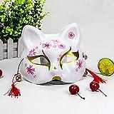 XWYWP Halloweenmaske, Unisex, kreativ, ungiftig, Cosplay, handbemalt, Umweltschutz, Halloween-Fuchsmaske mit Quasten und kleiner Glocke A
