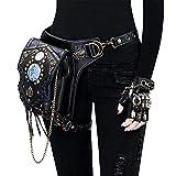 Yingm Holster Hüftgurttasche Taille Tasche Gothic Retro Motorrad Ledertasche Jamaikanische Umhängetasche Punk Tasche Besser Passender Körper (Farbe : Black, Size : One Size)