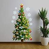 N-K Große grüne Weihnachtsbaum Sterne wasserdicht abnehmbare Art Decals Wandaufkleber DIY Weihnachtsschmuck für Zuhause neu freigegebenex