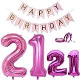 Luftballons Zahl 21 Geburtstag Deko XXL Helium Folien Luftballons Rosa in 2 Größen XXL 40'101cm | 32' 80cm+ Happy Birthday Banner Perfekte 21. Geburtstagsdeko