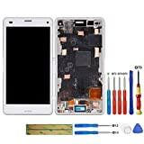 swark LCD Display Compatible with Sony Xperia Z3 Compact Mini D5803, D5833, SO-02G (Weiß with Rahmen) Touchscreen Digitizer + Tools