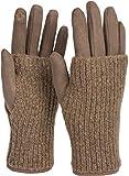 styleBREAKER Damen Touchscreen Stoff Handschuhe mit abnehmbaren Strick Stulpen, warme Fingerhandschuhe, Winter 09010022, Farbe:Taup