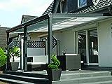 Terrassenüberdachung aus Aluminium mit 10mm Glaseindeckung und Premium Unterglasmarkise (5,00m x 3,5m (BxT), Anthrazit (RAL 7016 Strukturiert))