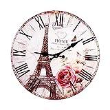 TOPINCN Wanduhr im antiken Stil, Vintage-Stil, Paris, Eiffelturm-Uhr, rund, aus Holz, Dekoration für Küche, Zuhause, S