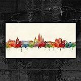 Kunstbruder Oldenburg Skyline - Farbe (div. Grössen) - Kunst Druck auf Leinwand 60x120