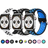 Ouwegaga Pack 3 Ersatz Armband Kompatibel mit Apple Watch 44mm 42mm 38mm 40mm, Weichem Silikon Armband Sport Armband Kompatibel mit Apple Watch SE/iWatch Series 6 5 4 3 2 1, 42mm/44mm-M/L