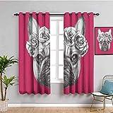JNWVU Blickdicht Vorhang für Schlafzimmer - Hund Bulldogge Rosenrot Nische - 3D Druckmuster Öse Thermisch isoliert - 234 x 183 cm - 90% Blickdicht Vorhang für Kinder Jungen Mädchen Spielzimmer
