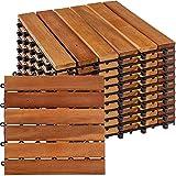 STILISTA® 1m² oder 3m² Holzfliesen aus Akazienholz 11 Stück oder 33 Stück 30x30 cm Fliese Balkonfliesen Terrassenfliesen Gartenfliesen für Garten Terrasse Balk
