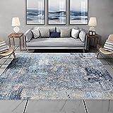 WIVION Nordische Teppiche Moderne Stilvolle Abstrakte Weiß Blau Blau Graue Tinte Malerei Innenteppich Non Shedding rutschfeste Teppiche Für Wohnzimmer/Schlafzimmer/Kinderzimmer,160 * 230cm(63x91inch)