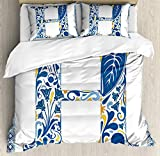 Moniii Letter H Duvet Cover Set, Azulejo Frame Flowers and Leaves Abstract Color Scheme Portuguese Inspired, Decorative 3 Piece Bedding Set with 2 Pillow Shams, Orange Yellow