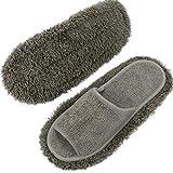 XJLANTTE Mikrofaserpantoffeln - Unisex Mop Pantoffeln Hausboden Staub Haarschmutz-Reinigungswerkzeug (Grau, M, 7,5 UK Wide)