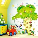 HALLOBO® XXXL Wandtattoo Wald Tier Zoo Baum AFFE Haus Waldtier Wandaufkleber Eichhörnchen Affen Wandsticker Kinderzimmer Kinder Baby Baby