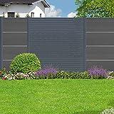 Mega Holz Aluminium Rhombus Sichtschutzzaun Sichtschutz - Bausatz - Anthrazit 180 x 180 cm