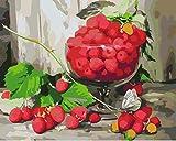 Heyazc Malen Nach Zahlen Erwachsene Kinder, 40x50cm DIY Malen Nach Zahlen Set mit Acrylfarbe und Pinsel Home Dekor Ölgemälde Paint by NumbersRote Erdbeere(Rahmenlos)